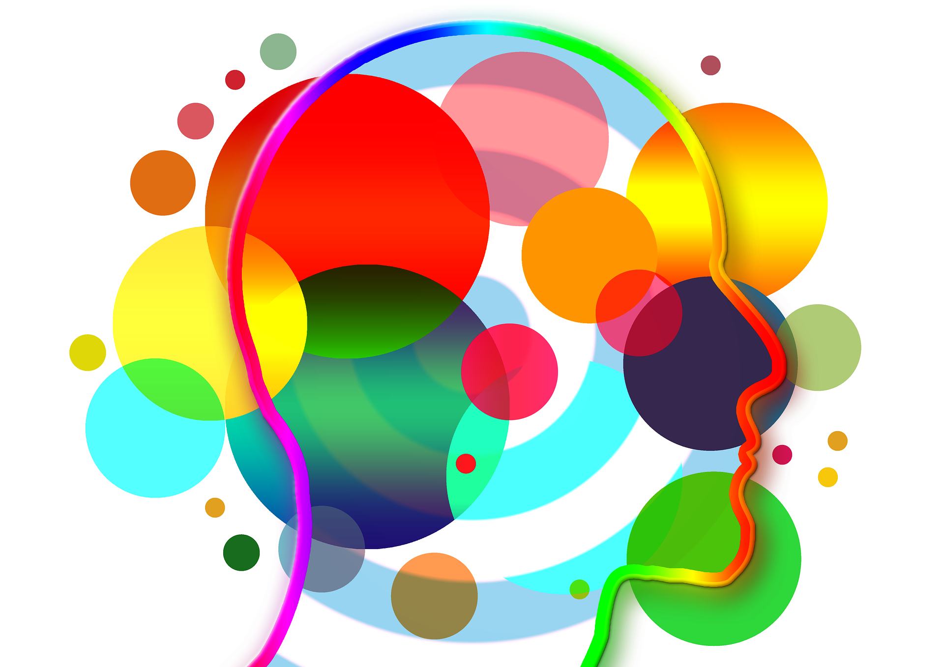 A graphics with the brain and colourful circles around representing different senses.